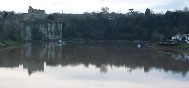 Chepstow castle and the Wye at twilight