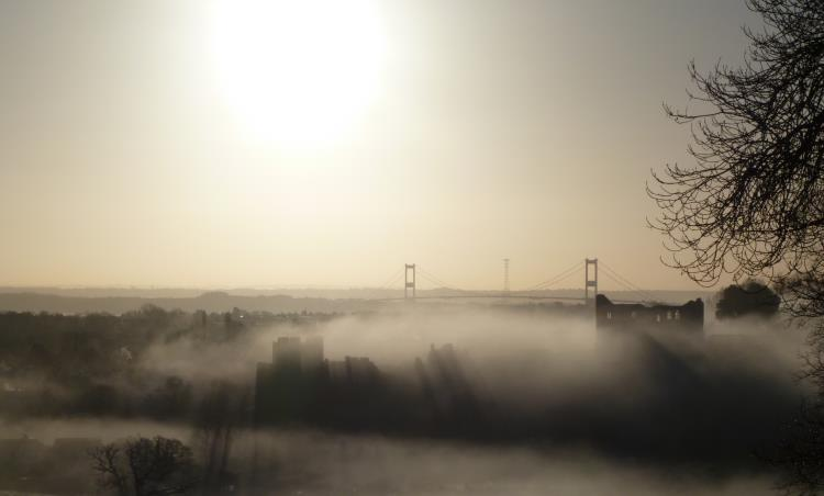 Towards Chepstow on a cold winter's morning with mist rising from the river